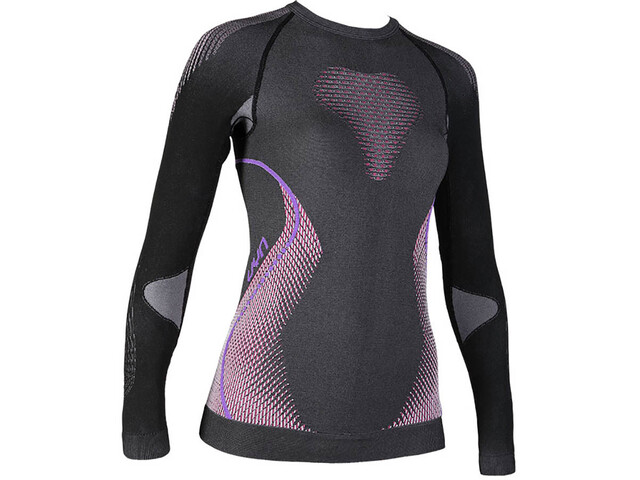 UYN Evolutyon Melange UW T-shirt à manches longues Femme, anthracite melange/raspberry/purple